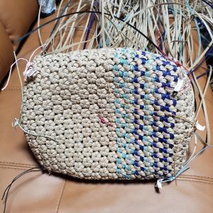 縦模様の花結び編み 途中経過♪