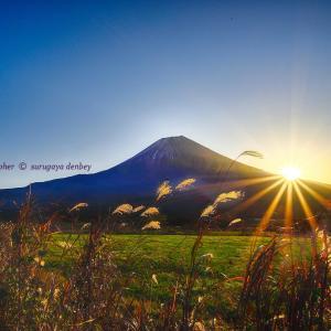 牧場で日の出を撮る