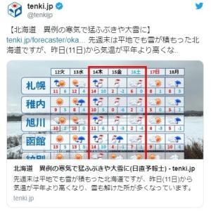 【ドカ雪】北海道は今日から異例の寒気で猛吹雪、そして大雪になるぞ!「24時間で50~70cm」