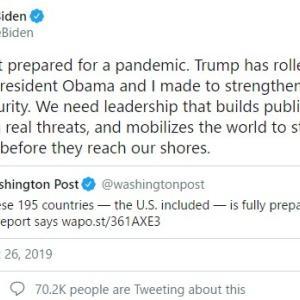 【陰謀論】バイデン前副大統領、なぜか「2019年10月25日」にパンデミックを警告するツイートしていたとして話題に