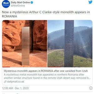 アメリカの砂漠にあった「謎のモノリス」姿を消す!正体不明の集団が持ち去ってしまった模様…今度はルーマニアでも突如「モノリス」が出現し話題に