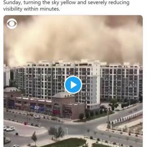 【サンドストーム】中国北西部・甘粛省敦煌で「100メートル超の砂嵐」が発生