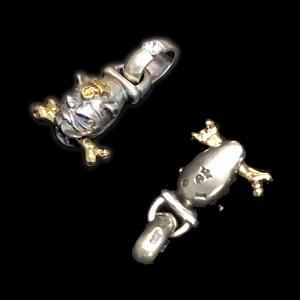 [動画] ガボラトリーのペンダント,  ZAZAダイヤモンドライン ロングネックブルドッグ ウィズ 18金 ボーン & レイズドG&Crown フローティング スーパーCZ H.W.O ペンダント [Youtube]