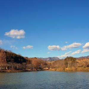 冬の山の中の小さな湖