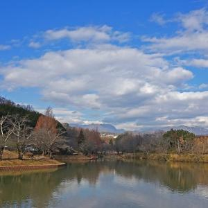 冬の山上湖情景