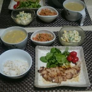 シニア夫婦の晩ご飯  豚肉の生姜焼き