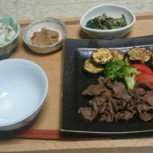 シニア夫婦の晩ご飯  牛肉のすき煮