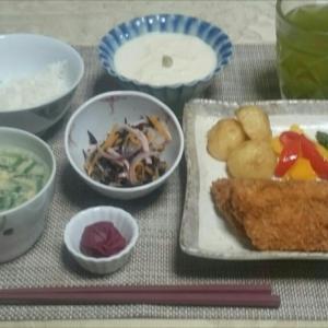 シニア夫婦の晩ご飯   アジフライ