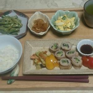 シニア夫婦の晩ご飯  豚肉の野菜巻き