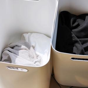 """""""洗濯カゴ""""としても使える!無印の収納BOX、やわらかポリエチレンケース。"""