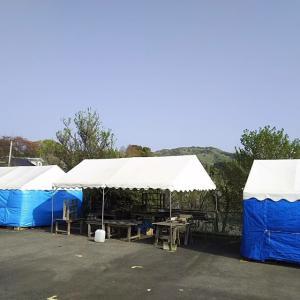 2019年春の益子陶器市テント建て