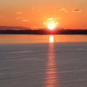 夕日の厚岸湾