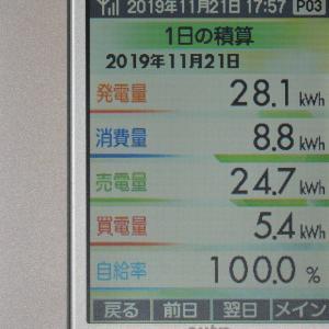 11月21日(木)の発電結果