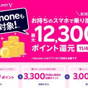 【楽天モバイル】月々2980円は1年無料で、お手持ちスマホの乗り換えで最大12,300ポイント還元 iPhoneも対象(11/4まで)