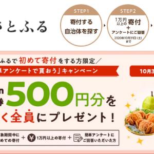 【10/31迄】さとふる ではじめて1万円以上寄付+アンケート回答でAmazonギフト券もれなく全員500円分もらえるキャンペーン