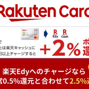 楽天カードでの 楽天Edy/楽天キャッシュ へのチャージで 2.5%還元(1/24まで)