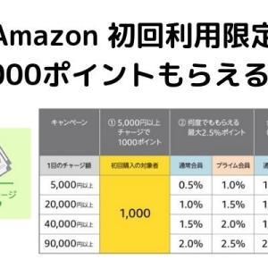 【復活!】Amazonチャージで1000ポイントもらえる!初回&現金5000円チャージで20%のリターンは超お得♪