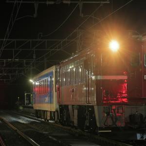 深夜の作並駅に停車する、ED75-757牽引の左沢線キハ101入場配給を撮る!