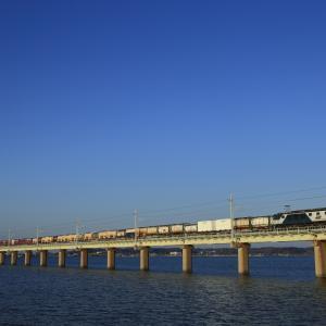 快晴の北浦を渡る、EF64-1000牽引の鹿島貨物1095列車を撮る!