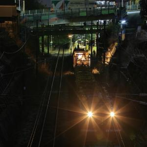 塩釜駅構内のロングレール取卸し作業