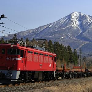 残雪の磐梯山とED75牽引の翁島工臨を撮る!