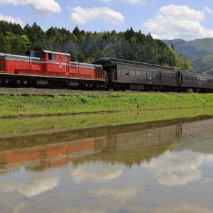 田植え前の水田に映る、DD51牽引の「DLやまぐち号」を撮る!