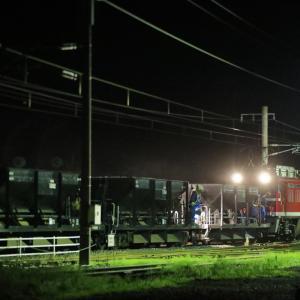 バラスト散布作業を行う、EF81-95牽引のホキ工臨を撮る!