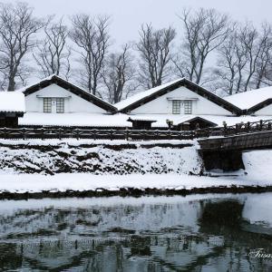 山居倉庫の雪景色