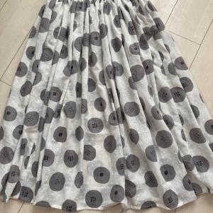 あんぱん柄のインド綿で、3丈使ったロングスカート!
