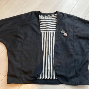 ドルマンジャケットをメンズ生地で作成 モードっぽくなりました!
