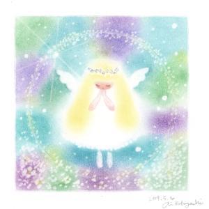 光の粒と真珠のゆるカワ天使さん