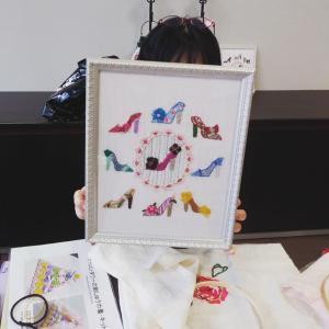 刺しゅう教室・第一号作品を完成下さった生徒さまの作品♪