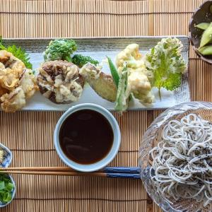 黒ゴマ素麺と天ぷらセット~