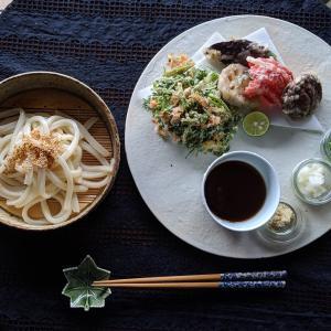 野菜天ぷらとざるうどん
