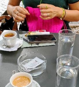 涼しい日はテラスでカフェが最高~♪韓国土産にジェル貰った♪ありがとう~(*'▽')CIAMP