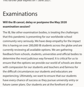 2020年IBDP(国際バカロレアディプロマ)Examは予定変更の可能性あり