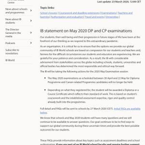 まさかのキャンセル!・IBDP(国際バカレロアディプロマ)Exam 2020年