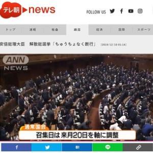 解散総選挙で安倍自民党の大敗を!