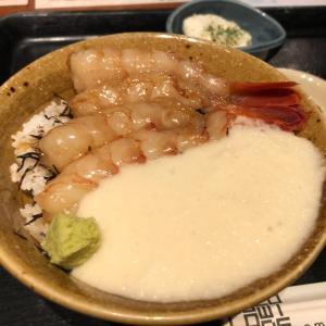 北海道で漬け海老丼ランチ
