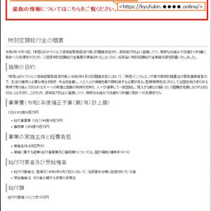 一部の人に10万円給付金追加支給のメールが。