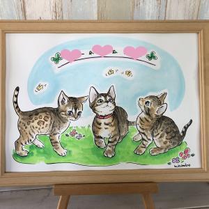 3匹の猫ちゃんの似顔絵★