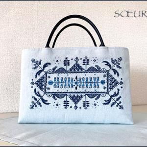 2つ目、青色刺繍のバッグ出来ました。