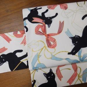 「リボン猫×斜め縞」リバーシブル二部式帯