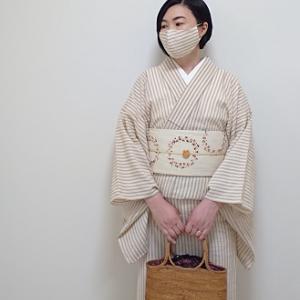 着物とおそろいマスクで大塚屋へ