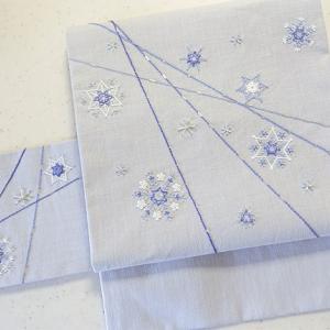 雪の結晶柄の三部式帯