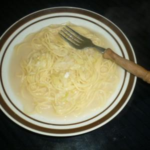 クラムチャウダーでスパゲティ