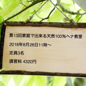 【第13回 家庭で出来る天然100%ヘナ教室】in広尾