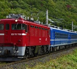 ED75 759牽引の快速「仙山線紅葉号」試運転