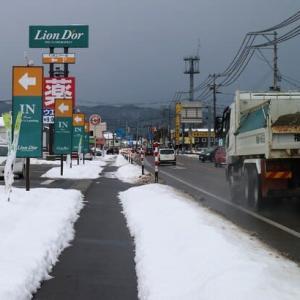 今日も寒九の雨降る街通り