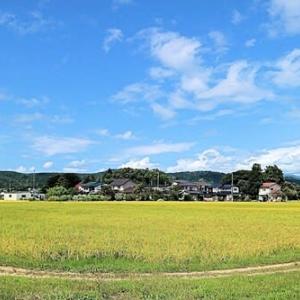 豊かな稔りの明るい村と空
